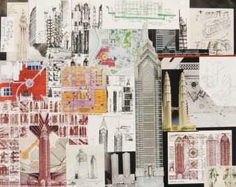 Architecture paper collage 16x20