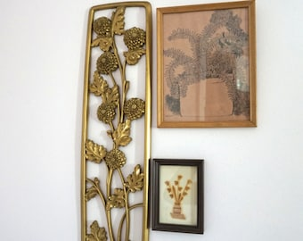 1970s Vintage Wall Hanging// Floral Design// Wall Decor// Gold Wall Hanging