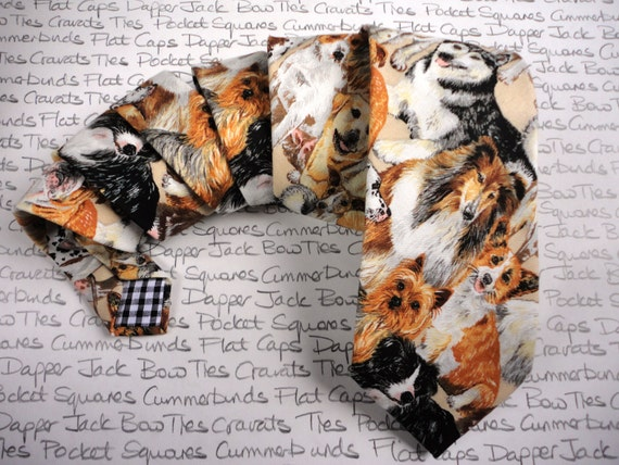 Necktie, dog print neck tie, ties for men, neckties for men, standard width neck tie
