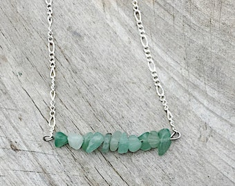 Green Aventurine Bead Bar Necklace, Green Aventurine Necklace, Bead Bar Necklace, Green Aventurine Beaded Necklace, Green Aventurine Beads