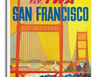 Vintage San Francisco Art Canvas Print Travel Poster Hanging Retro Wall Decor xr902