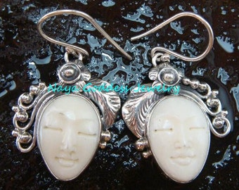 Silver & Carved Bone Leaf Leaf Earrings NG-1157