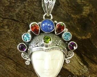 Sterling Silver and Mixed Gemstone Goddess Pendant NG-1233