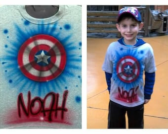 CAPTAIN AMERICA shield custom airbrushed T SHIRT or winter beanie with your name/phrase