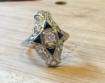 Art Deco Diamond and Sapphire Ring / Antique Sapphire Ring / White Gold