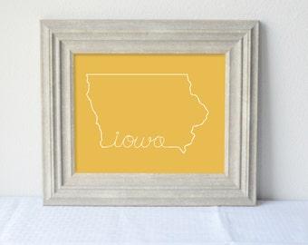 Printable Iowa State Art Print 8x10 Digital Wall Art Gift