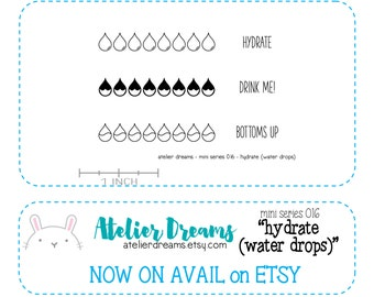 ADM-020 WATER DROPS - Mini - Planner Stamps (Photopolymer Clear Stamps) hydrate stamp, water drop stamp,