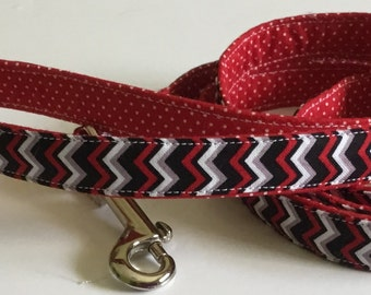 Red & Black Chevron Leash with Polka Dots for Female and Male Dogs