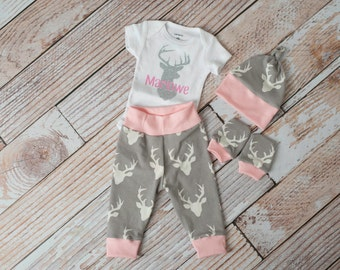 Hello World Baby Deer Antlers/Horns Bodysuit, Hat, Scratch Mitts Set with Grey and Pink + Personalized Deer Bodysuit Newborn Coming Home
