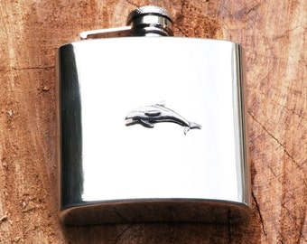 Dolphin S 6oz Hip Flask Stainless Steel Great Sealife Gift FREE ENGRAVING
