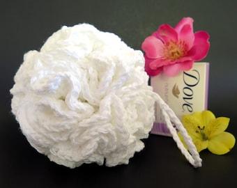 Crochet Bath Loofah Large Pouf White Cotton