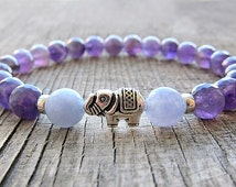 Amethyst bracelet Mala Bracelet Beaded Bracelet Stone Jewelry Meditation bracelet Yoga Bracelet Gemstone Bracelet Girlfriend gift for her