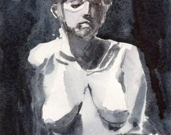 Watercolor figure (framed)