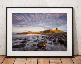 Northumberland Landscape photography, Dunstanburgh Castle. Craster, Coast, Seascape, England. Landscape Photo. Mounted print. Wall Art.