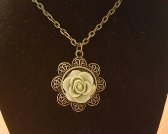 Antique Bronze Necklace 20 Inches with a 35mm Pendant with a Sage Flower
