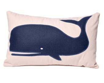 Navy Whale cotton denim lumbar throw pillow, chair pillow,  lumbar pillow, wool felt, coastal home, beach house decor, The Salty Cottage