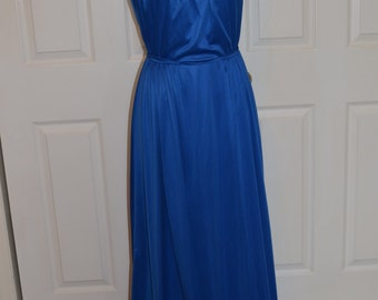Carol Gowns by Mr. Walter Blue Vintage Grecian Style Long Dress With Side Slit Size 14
