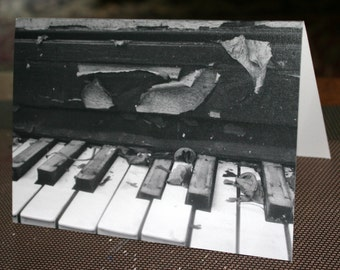 Set of Three Abandoned Piano Notecards, Piano Cards, Blank Photo Cards, Greeting Cards.