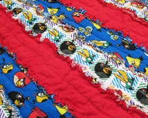 Angry Birds Quilt/Blanket for Baby/Toddler -  toddler blanket, boy rag quilt, jelly roll rag quilt
