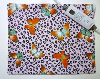 Heating Pad Cover ~ Electric Heating Pad Cover ~ Fits 12 x 15 ~ Butterfly on Cheetah