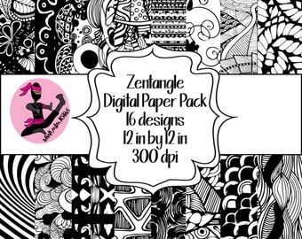 Zentangle Digital Paper Pack- 16 Sheets- Instant Download