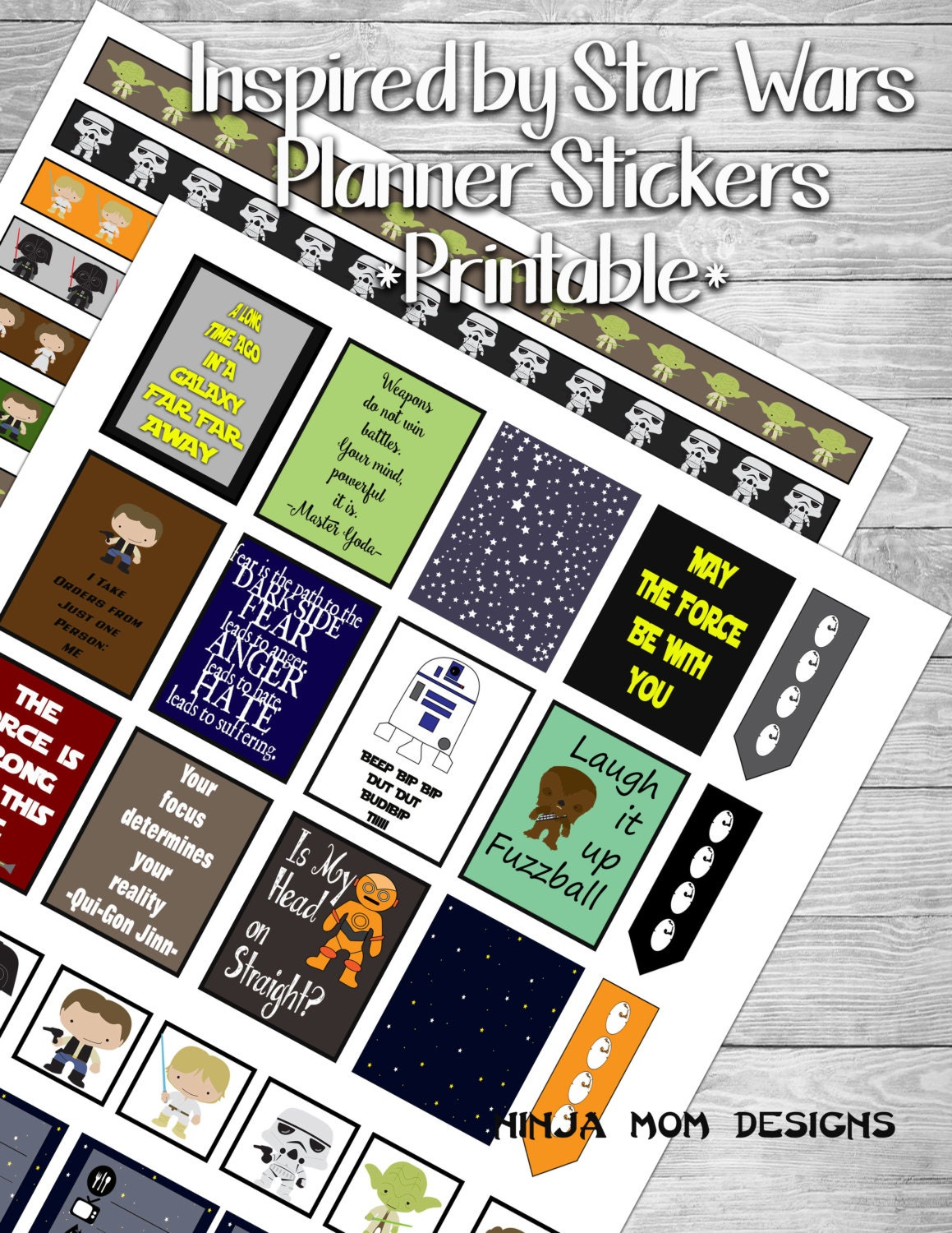 inspired by star wars sticker printable 2 pages digital file