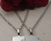 Puzzle Pieces Couple's Necklaces, 2 Pieces, Stainless Steel, My Other Half, Gift, Anniversary, FREE SHIPPING