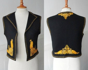 70s Embroidered Vintage Wool Felt Waistcoat // Black With Yellow Flowers