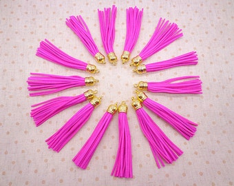 10 pcs Peach 90mm Suede Leather Tassel With Gold color plastic Cap