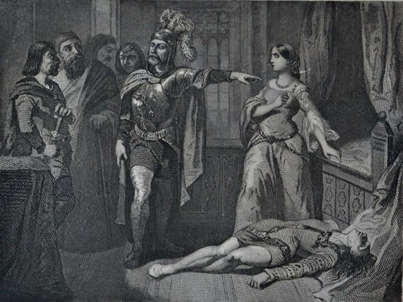 """Death of Lothair of France. Antique lithograph. Drouart illustration of 1851. French old print. """"Les mystères du peuple"""". 6'2 x 9'2 inches."""