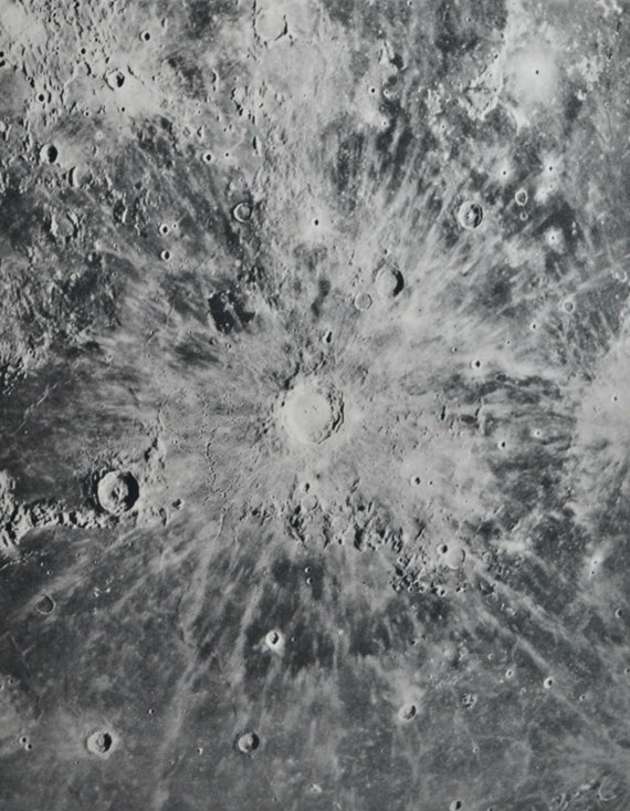 Copernicus lunar crater. Astonomy print. Old book plate, 1937. Antique  illustration. 78 years lithograph. 9'4 x 12'1 inches.