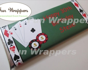 Casino Chocolate Bar Wrapper Candy Bar Wrapper | Casino Wedding favor | Casino Birthday | Casino Party | Las Vegas Wedding