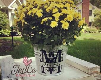 Galvanized Bucket, Personalized Bucket, Monogramed Metal Bucket, Last Name Bucket