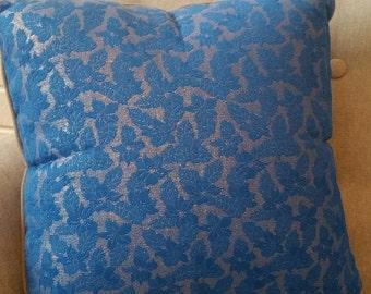 Royal blue lace patterned cushion 45cm x 45cm