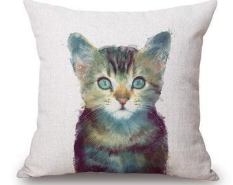 Watercolor Cat Pillow Cover