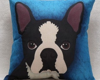 French Bull Dog on Blue Background - Pillow Cover