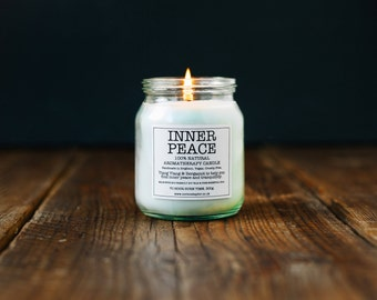 INNER PEACE Soy Candle (300g). 100% Natural w/ Bergamot and Ylang Ylang Essential Oils. Vegan. Cruelty free. 70 hour burn time.