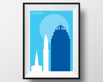 Boston print, Boston art, Boston poster, Boston artwork, Boston Massachusetts, Boston original gift, Boston architecture, Boston wall art