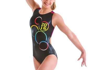 Gymnastics Leotard - Support USA in Rio in 2016! Black hologram and colorful mesh open back gym leo Size AL teen Ships in 1-2 business days!