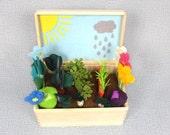 Sunny Rainy Felt Fabric Vegetable Garden Play Set, Toy MiniGarden, Pretend Food Veggies Big Set Box For Kids Little Gardener Vegetable Patch