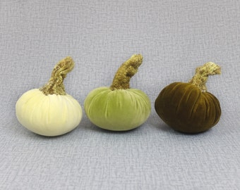 One Velvet Pumpkin Halloween Decor Thanksgiving Decoration Textile Centerpieces Light Yellow Green Dark Olive Green Autumn Fall Ornament