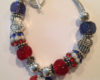 Red, White and Blue Patriotic Beaded Bracelet