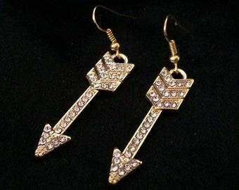 Bejeweled Gold Arrow Earrings