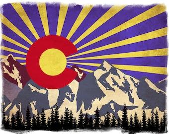 Colorado State Flag Print - Colorado Poster - Denver Poster Boulder Wall Art Home Decor Fine Art Print #vi291