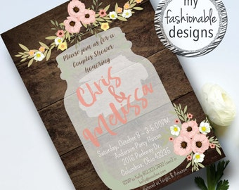 Rustic Shower Invitation, Couples Shower, Bridal Shower, Baby Shower