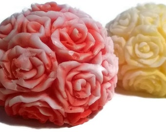 Decorative Rose Soap Ball!  100% Natural, Organic Oils! Homemade Soaps Customize: SCENT, COLOR, and TYPE of Soap