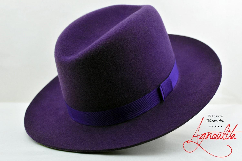 Dark Purple Wool Felt Ridge Fedora Handmade Gutter Crown