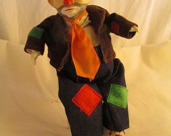 Music Box Clown Sitting Metal Chair Moving Moves Head Rare Vintage Poseable