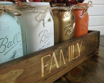 Rustic Mason jar centerpiece, Rustic decor, Wood Box Centerpiece, Fall Centerpiece, Holiday decor