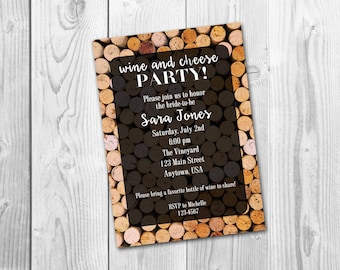 Wine and Cheese Wine Tasting Bachelorette Party Bridal Shower Invitation, Digital Printable File